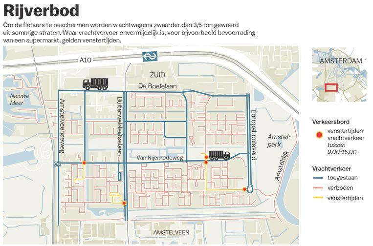 Vrachtwagenverbod in Buitenveldert Beeld Gemeente Amsterdam Zuid/Jet de Nies