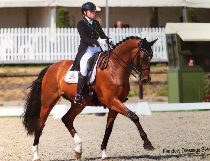 Amber Van den Steen met Dutch Lord V.S. tijdens een dressuurwedstrijd .