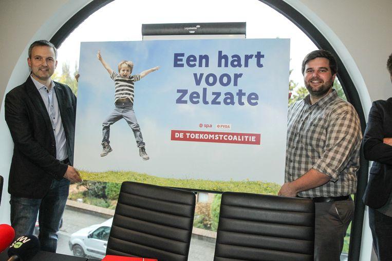 Burgemeester Brent Meuleman (sp.a) en schepen Geert Asman (PVDA)