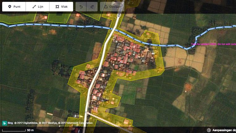 Satellietfoto's bieden uitkomst, maar het Rode Kruis vraagt vrijwilligers online wat er precies op te zien is, zoals op deze uit Nepal. Beeld