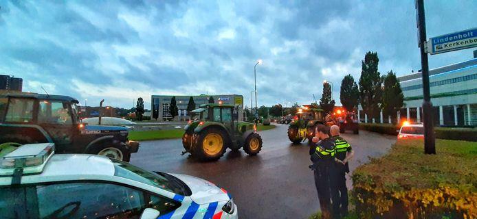 Boeren op het Takenhofplein.