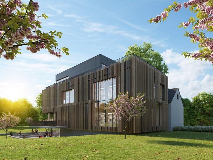 Een 3D-beeld van hoe het landhuis de Viron in Sint-Pieters-Leeuw er na de renovatie zal uitzien. Een zicht op de bijbouw die uitgeeft op het Colomapark.