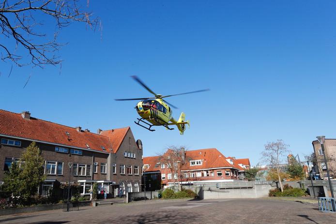 De traumahelikopter kwam ter plaatse.