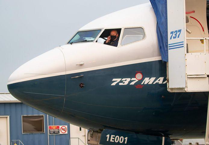 Een Boeing 737 MAX bij aanvang van een testvlucht door de Amerikaanse luchtvaartautoriteit FAA.