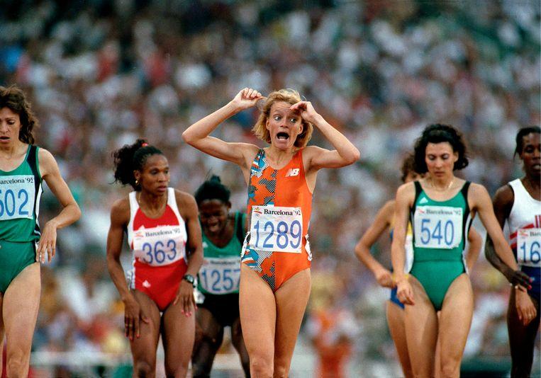 Ellen van Langen heeft goud gewonnen op de 800 meter, Barcelona 1992. Beeld Hans Heus / Hollandse Hoogte