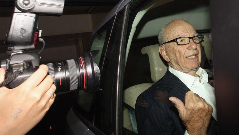Mediamagnaat Rupert Murdoch gisteren in Londen. Beeld getty