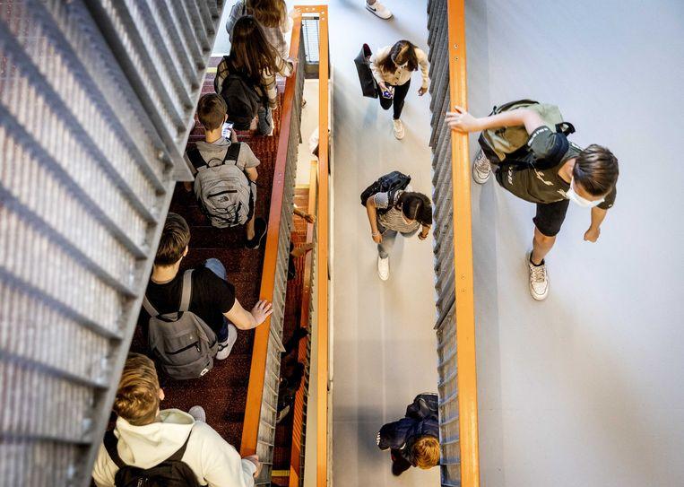 Leerlingen van het Teylingen College Leeuwenhorst. Beeld ANP