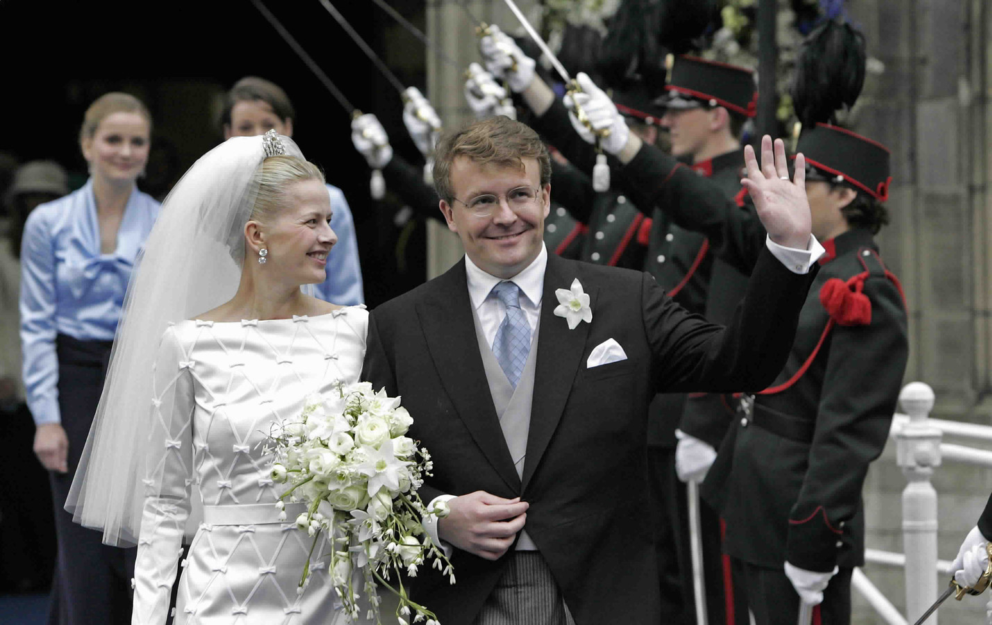 Huwelijk van prins Johan Friso en Mabel Wisse Smit op 24 april op 2004.