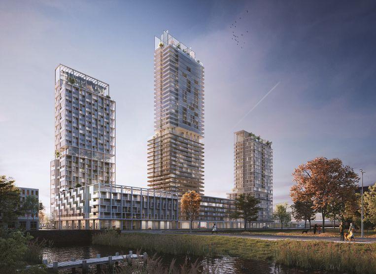 Impressie van het drietal torens. Beeld Hoogbouwproject MARK in Leidsche Rijn