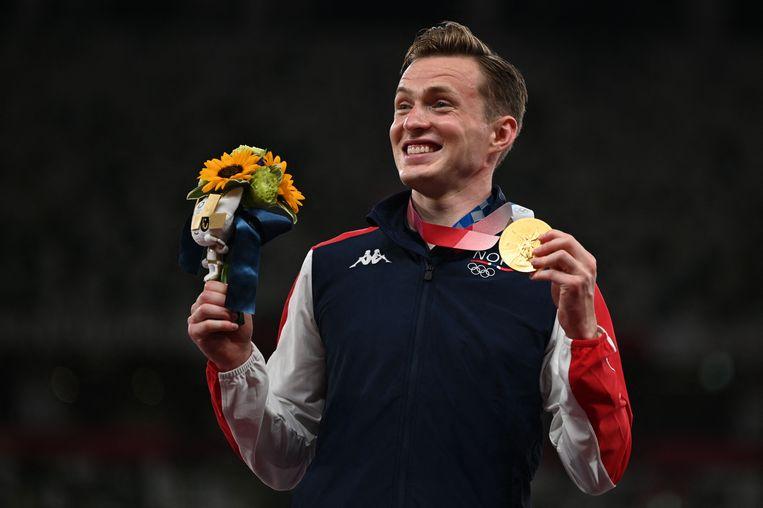 Karsten Warholm won goud op de 400 meter horden. Beeld AFP