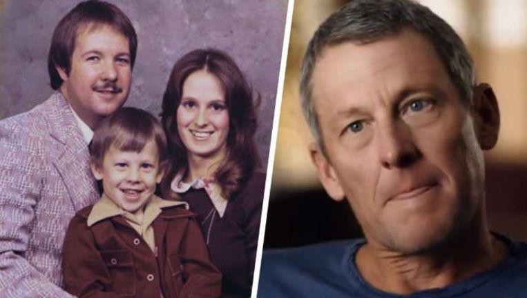 Links: Lance op de schoot bij zijn stiefvader Terry Armstrong, een oud-militair. Rechts: in de docu op de vraag of het een moeilijke beslissing was om epo te nemen.