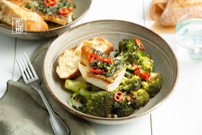 Bagna cauda met schelvis en broccoli