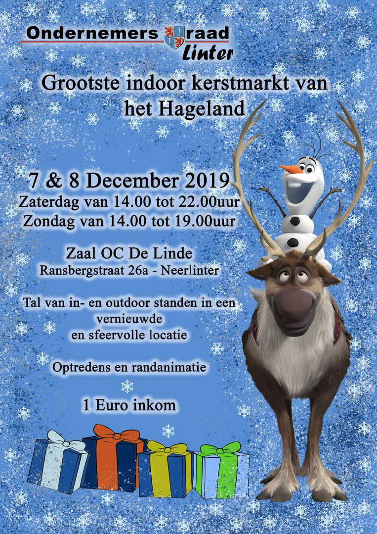 Het programma voor de kerstmarkt in De Linde.