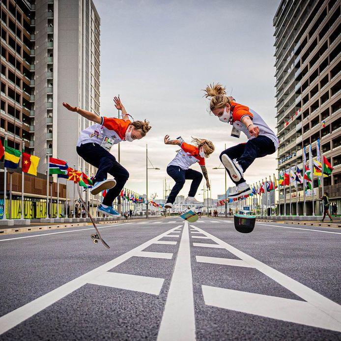 De skateboarders Keet Oldenbeuving (L), Candy Jacobs (M) en Ross Zwetsloot (R) in de straten van Tokio.