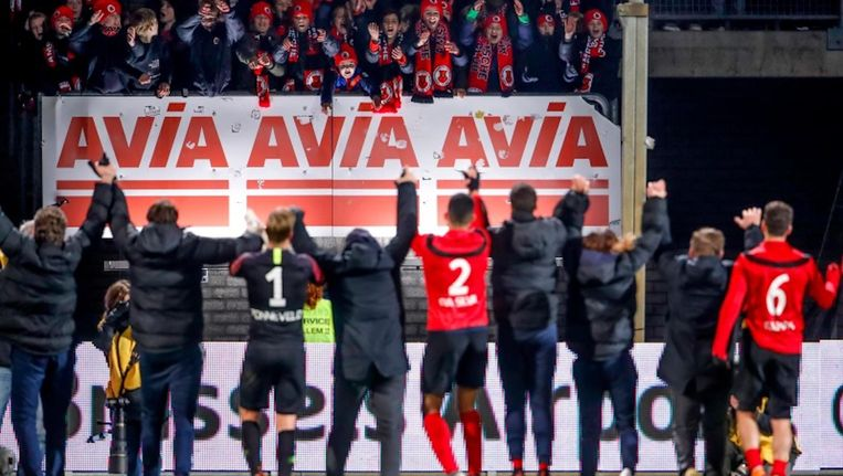 Spelers van AFC in december na de bekerwedstrijd tegen Telstar. Beeld Geert van Erven/Soccrates