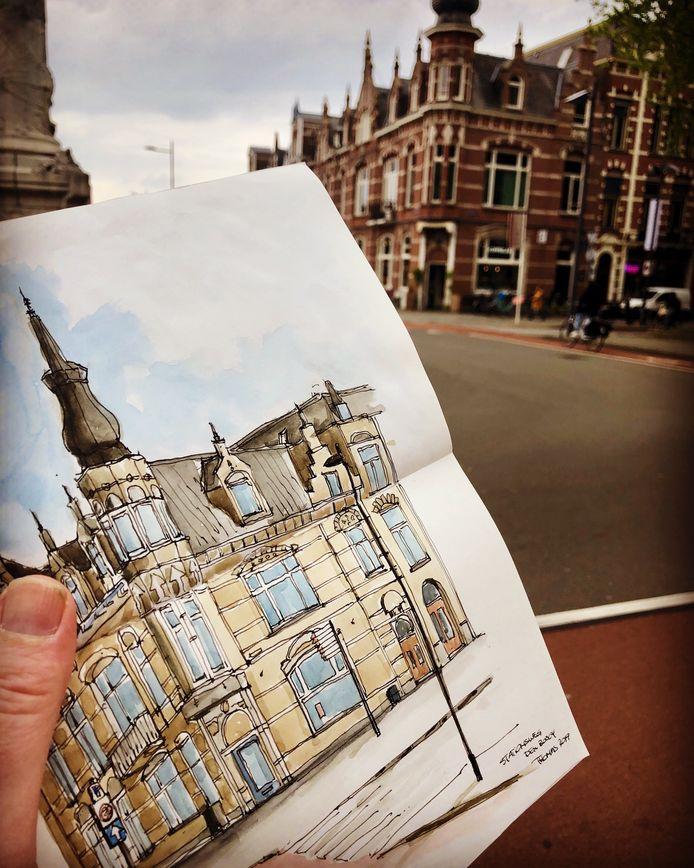 Urban Sketchers. Hier een pand nabij het station in Den Bosch.
