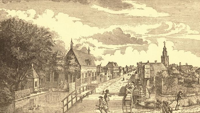 Een 18de eeuws gezicht op Zoetermeer vanaf de Voorweg/Vlamingstraat. Halverwege de Dorpsstraat, links, was het huis van ambachtsheer Jacob du Mee.