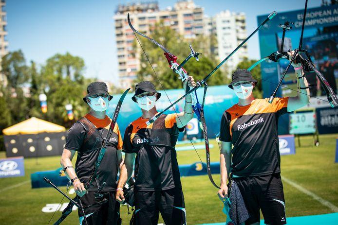 Het gouden team met Rick van der Ven, Steve Wijler en Sjef van den Berg.