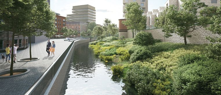 De Dijle wordt weer zichtbaar in de Leuvense benedenstad.