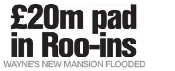 De kop van het verhaal over de overstroming in het nieuwe huis van de Rooneys.