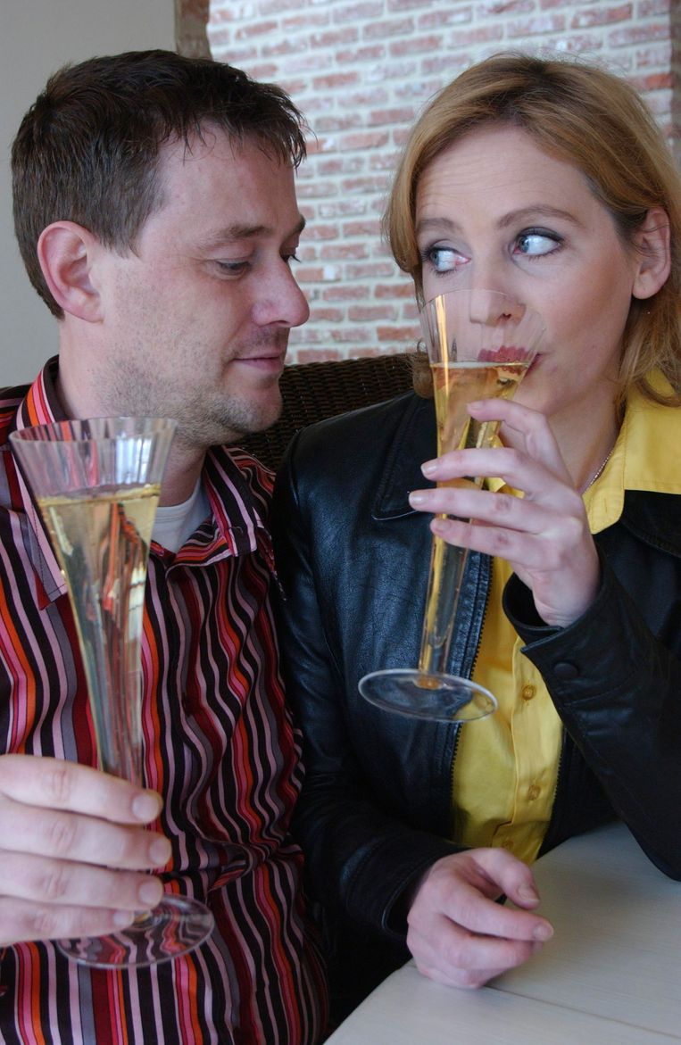 De Pauw en Cafmeyer in 'Het geslacht De Pauw', waarin ze echtgenoten speelden. Beeld VRT - Lies Willaert