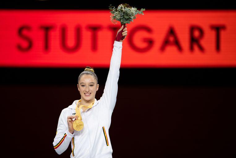 Nina Derwaels weg naar haar wereldtitels begon bij Sta Paraat in Hasselt. Beeld EPA