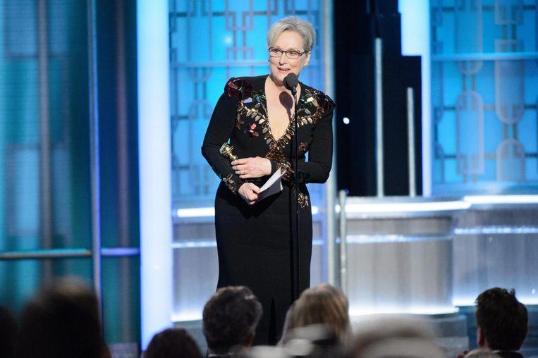Meryl Streep tijdens haar speech. Beeld epa
