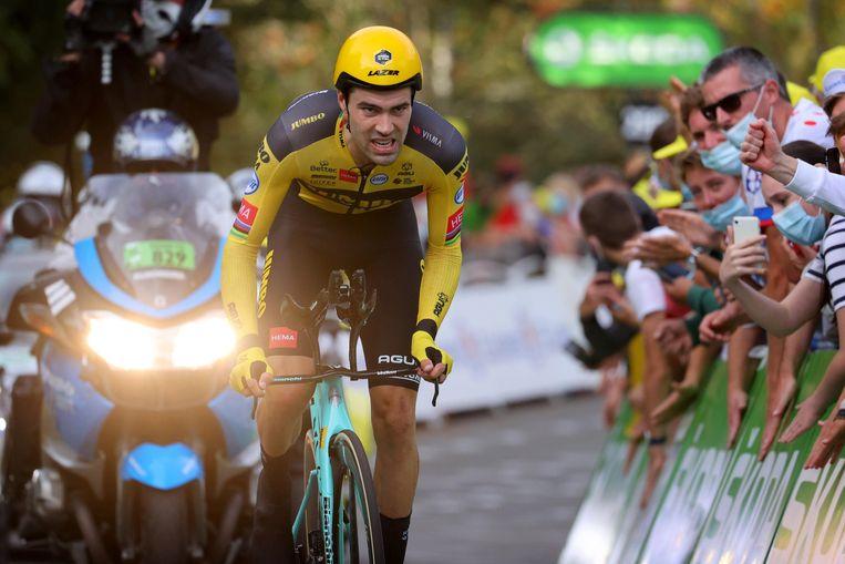 Tom Dumoulin in de Tour-tijdrit naar La Planche des Belles Filles. Beeld Photo News