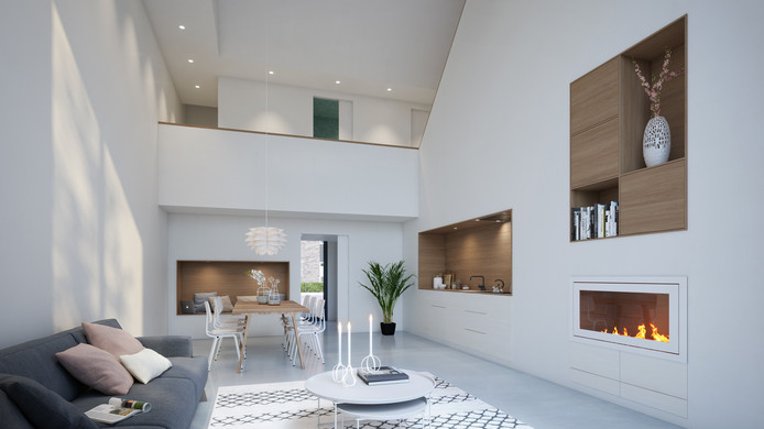 De woonkamer en keuken kenmerken zich door de hoge plafonds.
