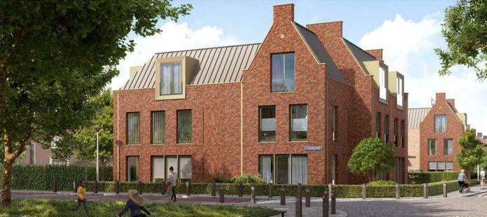 Impressie van de nieuwbouw aan de Sprengersstraat (voorgrond) en Van der Weidenstraat in de Helmondse wijk Stiphout.