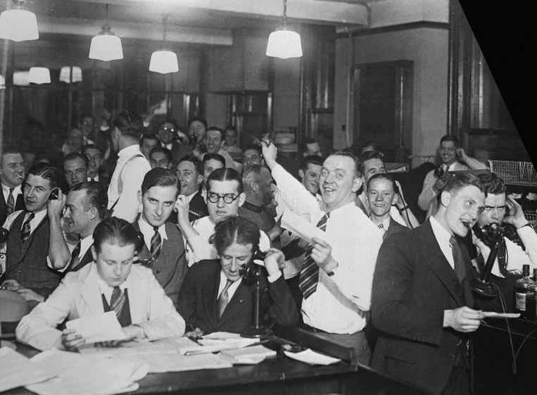Overuren draaien op de dag van de krach, 24 oktober 1929. Beeld Bettmann Archive