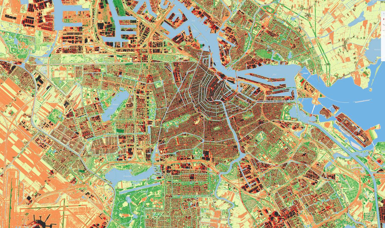 Zo heet kan het zijn in de stad. Hoe donkerder de kleuren op deze kaart, des te warmer het in de omgeving van de betrokken gebouwen wordt. Beeld Bluelabel