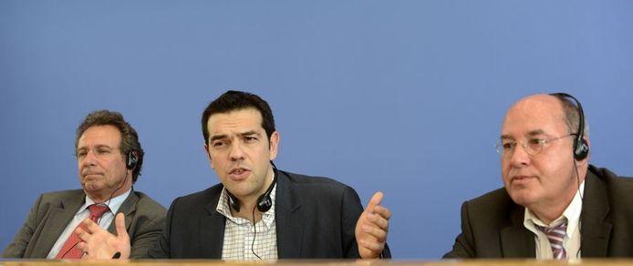 Alexis Tsipras ging vandaag langs bij Die Linke in Berlijn.