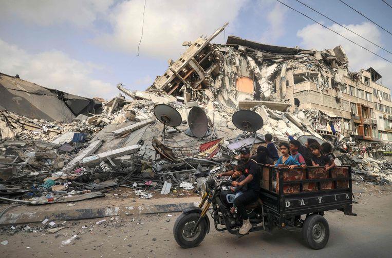 Gaza-stad ligt in puin. Beeld AFP