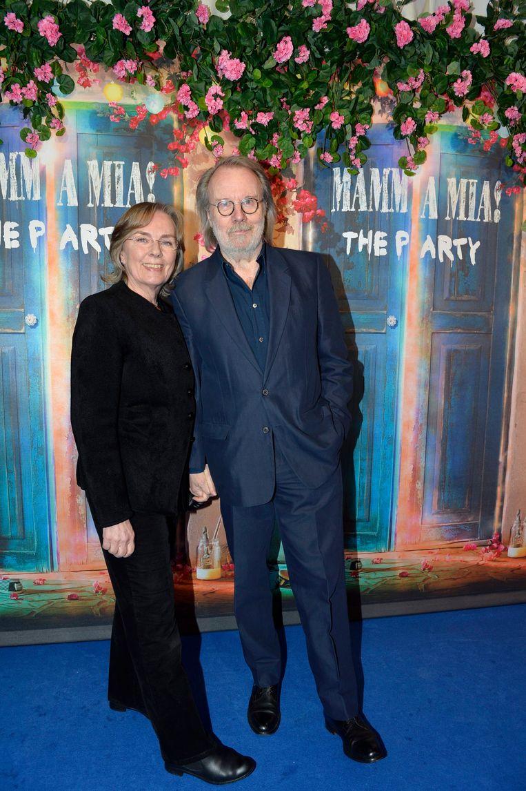 Benny Andersson en zijn vrouw Mona Norklitt. Beeld EPA