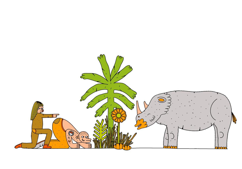 'Hoop jij ook stiekem dat die neushoorn niet komt?', zei Christiaan.'Zo'n beest is levensgevaarlijk.' Beeld Sasa Ostoja