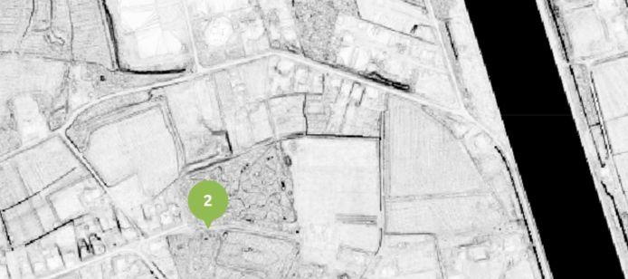 Op 'Onder de Radar' wordt getoond waar de loopgraven gelegen waren