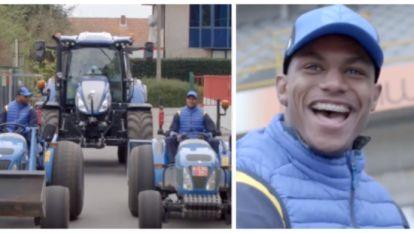 Nieuwe grasmat op Jan Breydel? Wesley, Danjuma en Denswil amuseren zich alvast kostelijk op de tractor