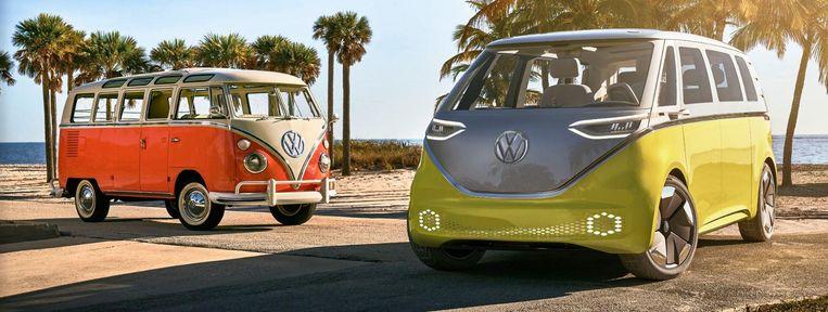 Het iconische Volkswagen-busje krijgt een nieuw, elektrisch jasje aangemeten. Beeld Volkswagen