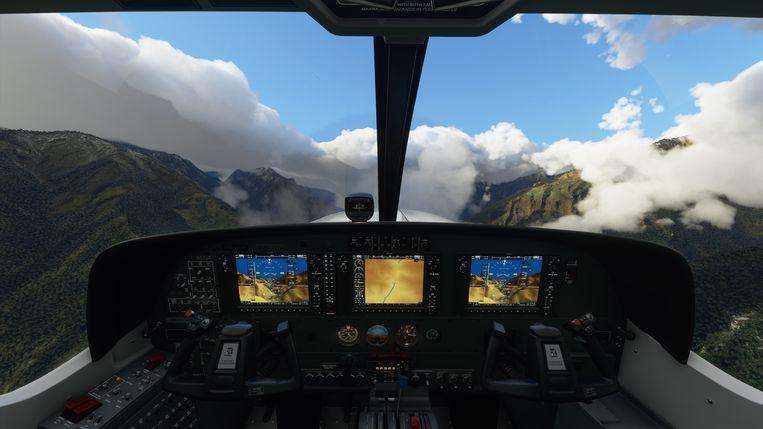 Zicht vanuit een van de realistisch weergegeven cockpits in Flight Simulator. Beeld Microsoft