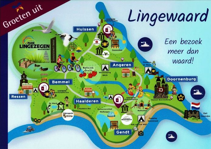 Ansichtkaart 'Groeten uit Lingewaard'. 'Ik kon ondanks de maat (315 vierkante centimeter) alleen de plaatsnamen lezen.'