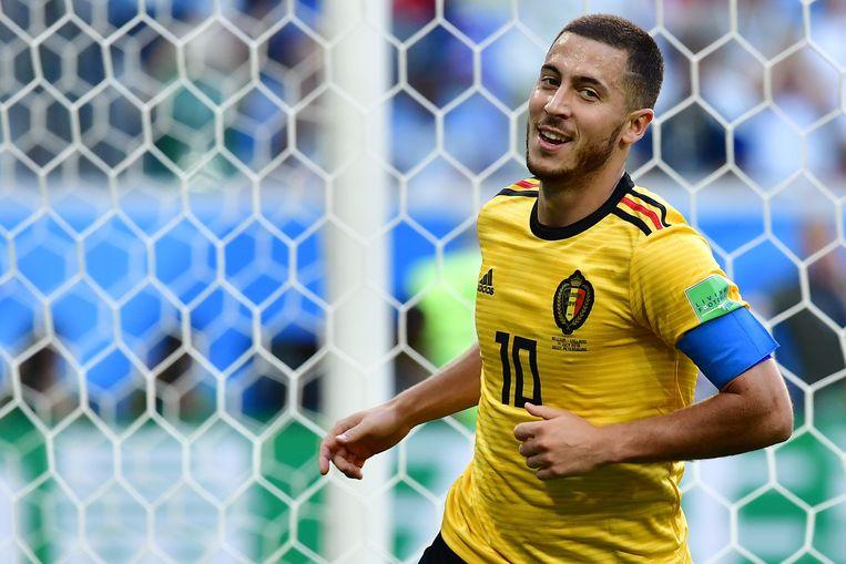Eden Hazard tijdens het WK in 2018. Beeld AFP