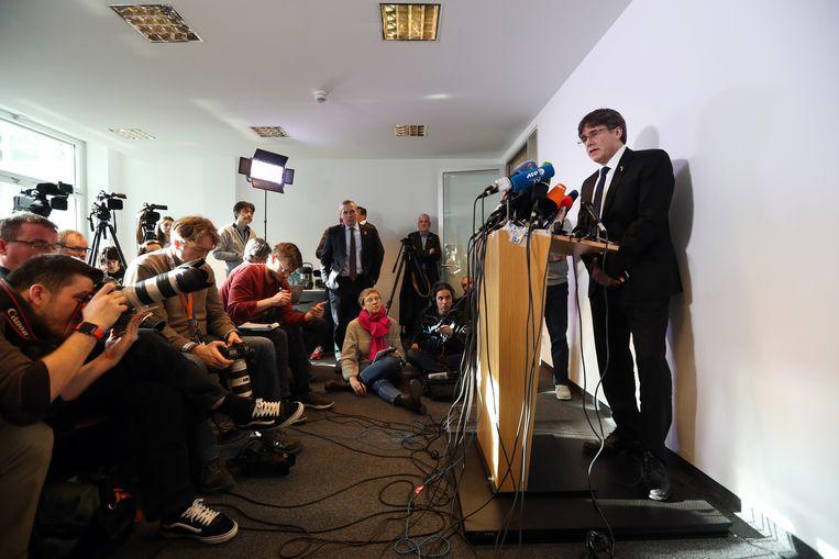 Carles Puigdemont vanmiddag in Berlijn.