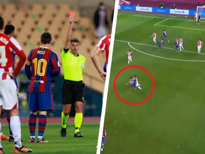 Gefrustreerde Messi ziet hoe Barça Supercopa nog uit handen geeft en krijgt in 753ste match voor FC Barcelona eerste rood