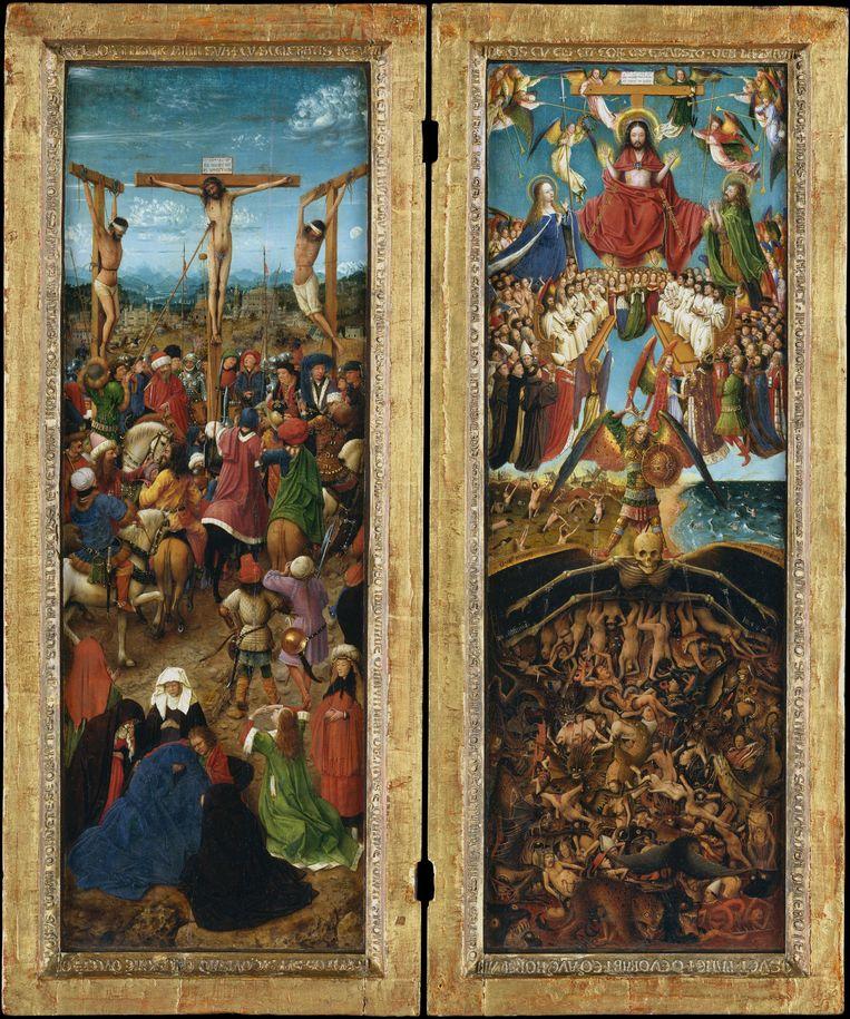 Kruisiging en Laatste Oordel (ca. 1426) door Jan van Eyck. Beeld Jan van Eyck