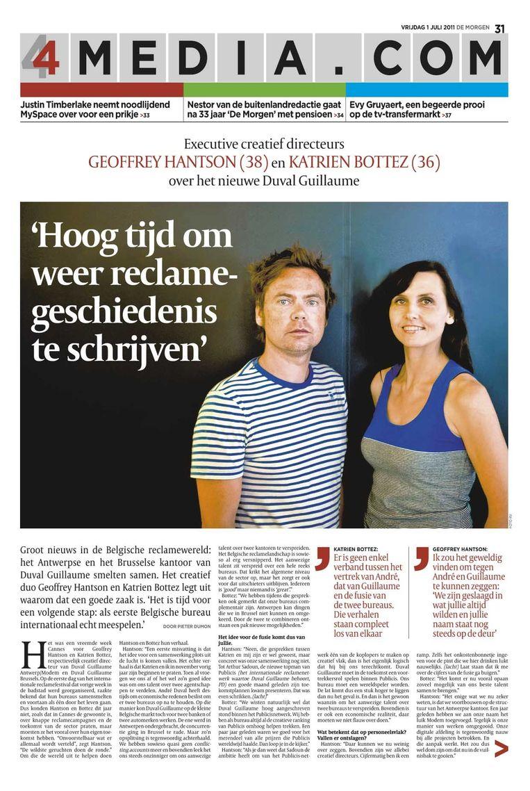 Geoffrey Hantson en Katrien Bottez in de Media.com-bijlage uit juli 2011 met een interview over