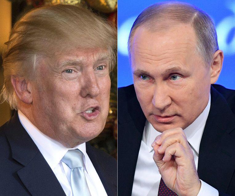 De Russische president Vladimir Poetin (r.) wil een verklaring van Trump waarom de Amerikanen zich willen terugtrekken uit het ontwapeningsverdrag. Beeld AFP