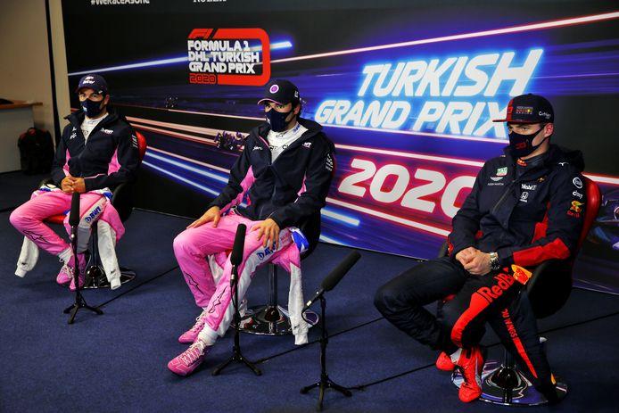 Pérez, Stroll en Verstappen na afloop van de kwalificatie.