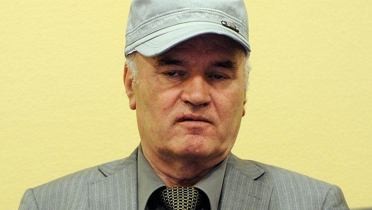 Ratko Mladic tijdens zijn eerste voorgeleiding voor het Joegoslaviëtribunaal in Den Haag in 2011. Beeld anp