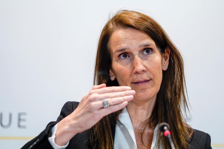 Premier Sophie Wilmès tijdens de persconferentie afgelopen vrijdag. Beeld Photo News